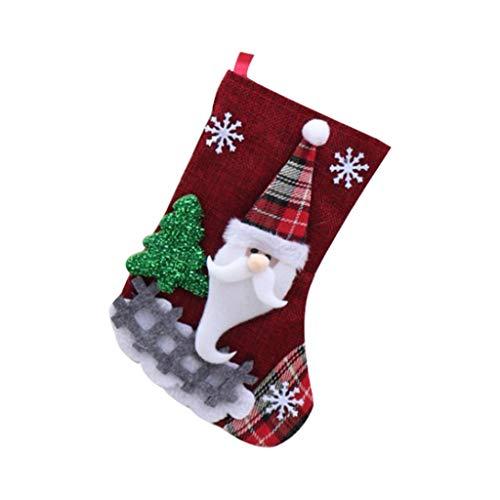 carol -1 Mini Weihnachtsstrümpfe, 3D Santa Schneemann, Kleine Nikolausstiefel zum Befüllen und Aufhängen- Geschenk und Treat Bags Weihnachten Hängende Socken für Weihnachtsbaum, Garten Dekoration