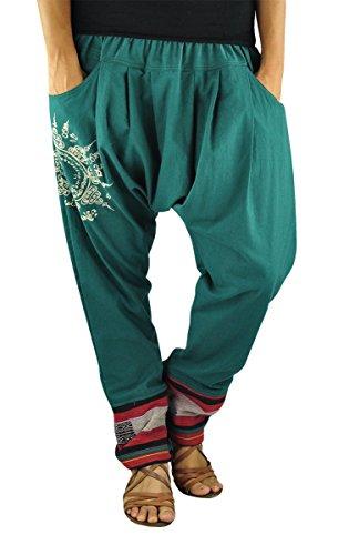 pantalones bombachos de entrepierna baja para hombres y mujeres con tatuaje espiritual Yantra como ropa hippie de virblatt – Paed Tidt Yant P