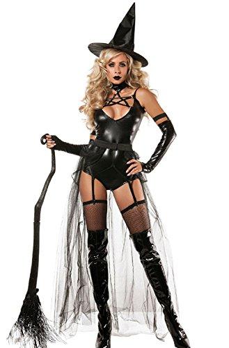 Travelday Halloween-Hexe-Kostüm vier Stücke Kleid Abendkleid Frauen Cosplay