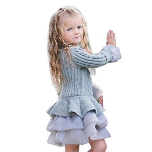 vestidos de fiesta para bodas niñas 2017 otoño casual Switchali Tutú vestidos niña invierno ropa de nina en oferta elegantes niña abrigo manga larga Suéter Prendas de punto (110 (2~3años), Gris)
