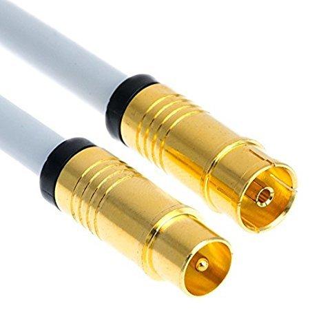 2m HD Antennen kabel 135 dB Koaxial Stecker / Buchse VERGOLDET TV Koax FERNSEHER + RADIO 4K Digital (2m, Weiß)
