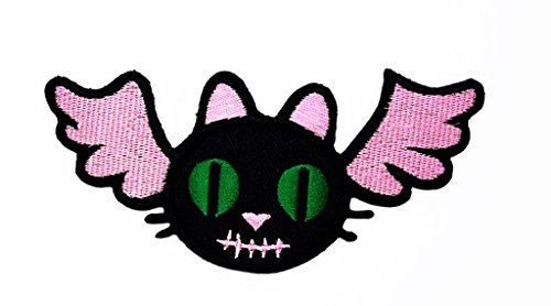 dermaus Vampir Kitty Cat Cartoon Kids Kinder Cute Animal Patch für Heimwerker-Applikation Eisen auf Patch T Shirt Patch Sew Iron on gesticktes Badge Schild Kostüm (Eisen Auf Halloween-applikationen)