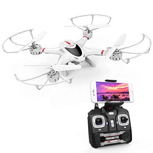 DBPOWER-FPV-Drone-avec-Camra-WiFi-Live-Video-24GHz-4-Chanel-6-Axe-Gyro-RTF-Quadcopter-RC-quip-avec-Mode-sans-Tte-et-Une-Cl-Retour–la-Maison-Couleur-Blanc