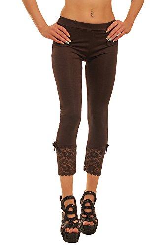 10054 Fashion4Young Damen Sexy Capri-Leggins Leggings 3/4 Hose mit Strass oder Schleife Gr. 34 36 38 (One Size 34 36 38, Dunkelbraun)