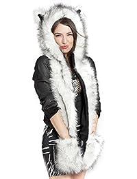Unisex gorro de 3en 1Full sudadera con capucha invierno caliente suave Fluffy Cute Animal Tema gorro con manoplas guantes de bolsillo largo bufanda para hombres mujeres niñas, gran Navidad regalo de cumpleaños, mujer, White with black