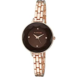 Rampage Women's 'Bezel Face' Quartz Metal and Alloy Automatic Watch, Color:Rose Gold-Toned (Model: RP1052RG)