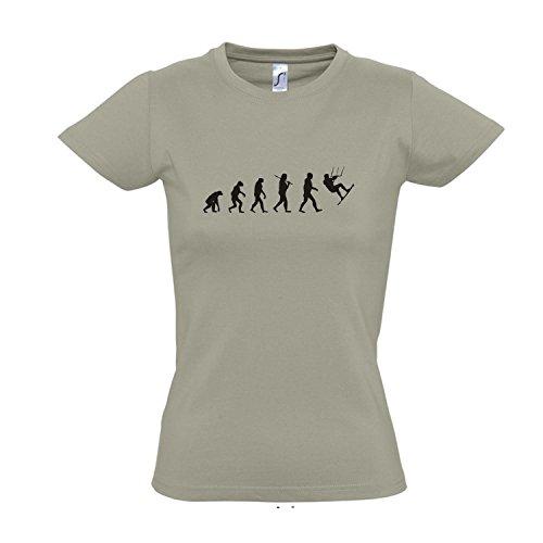 Damen T-Shirt - EVOLUTION - Kitesurfen Sport FUN KULT SHIRT S-XXL Khaki - schwarz