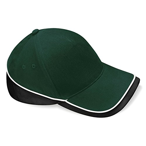 Beechfield Teamwear Competition Cap in Bottle green / black / white - Brushed Twill Cap
