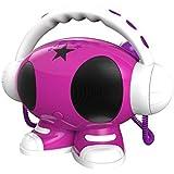 BigBen Emma - Sistema de karaoke robot (pantalla LED, 1 GB, 2 altavoces integrados, 2 micrófonos alámbricos, MP3, USB), rosa y blanco