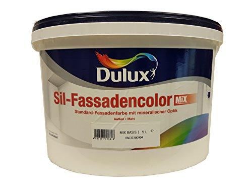 Dulux Sil-Fassadencolor Fassadenfarbe Mix mit mineralischer Optik für Außen Weiß matt 10 Liter