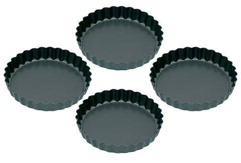 Kitchen Craft Non-Stick Mini Fluted Flan Tins , Set of Four