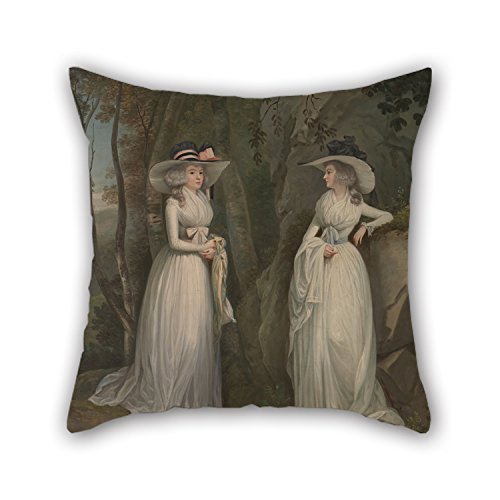 beautifulseason Pillowcover of Oil Painting Alexander Nasmyth - Eleanor and Margaret Ross,for Divan,Sofa,Home,Kids Room,Coffee House,Bedding 16 X 16 Inches/40 by 40 cm(Double Sides) (Oil Horizon)