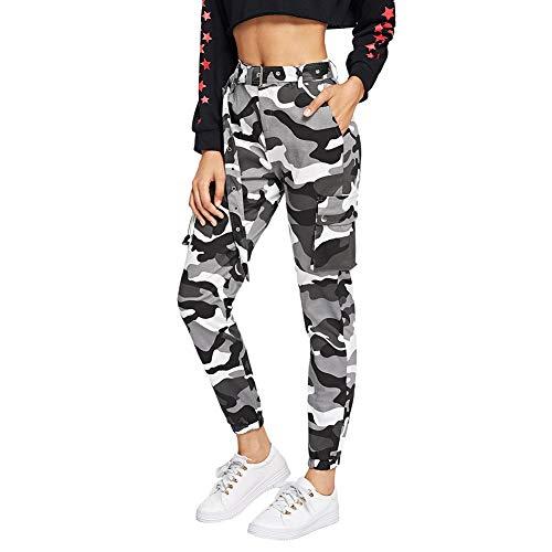 SOLY HUX Damen Sport Sweatshose Camouflage Gürtel Hosen Seiten Taschen Reißverschluss Laufhose Bunt Hosen Sporthose Capris Jogger Pants Farbe #3 S -