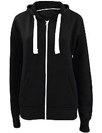 7b0566f34 Made by PURL® Womens Ladies Plain Hoodie Zip Zipper Pockets Long Sleeve  Hooded Top Hoody