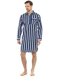 Homme vêtements/vêtements de nuit Stripe Print manches longues bouton haut de la page Nighshirt avec poche supérieure, diverses couleurs & tailles
