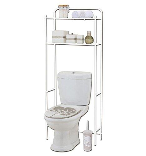 Meuble WC 2 tablettes coloris blanc