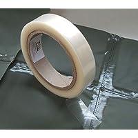 Cinta para sellar uniones - WBM FX-800 - adhesivo termofusible - PU impermeable recubierto de cinta de reparación Tela - 20 metros - aplicar con plancha eléctrico (transparente, 22 mm Ancho)