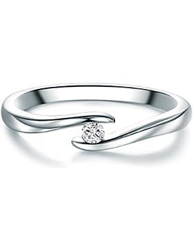 Tresor 1934 Damen-Spannring Sterling Silber Diamant weiß im Brillantschliff 0,05 Karat-Verlobungsring Diamantring...