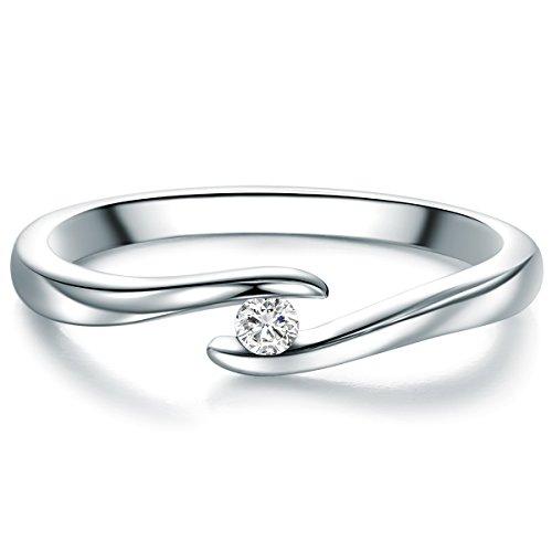 Tresor 1934 Damen-Spannring Sterling Silber Diamant weiß im Brillantschliff 0,05 Karat-Verlobungsring Diamantring Solitär Verlobungsring Brillant (Spannring Diamant)