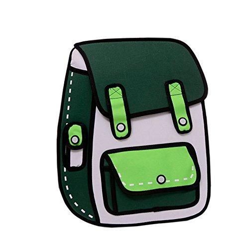 Flyfish 3D Jump Stil 2D Zeichnung aus Cartoon Papier Comic Rucksack Schule Umhängetasche - Täglich Zeichnung Zeitschrift