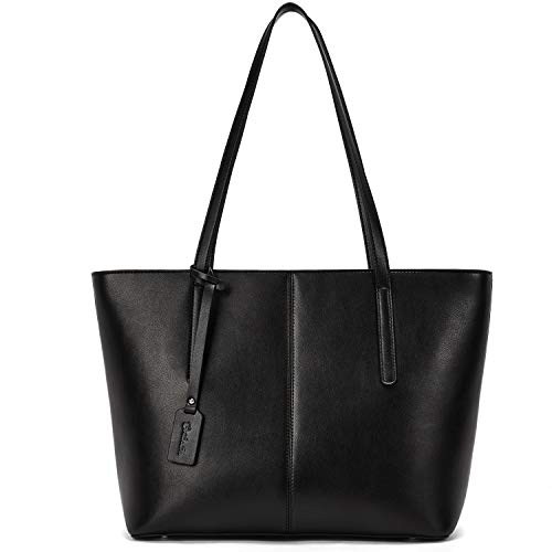 BOSTANTEN Damen Leder Schultertaschen groß Handtasche Frauen Designer Umhängetasche Tote Bag Schwarz - Leder-designer-handtasche