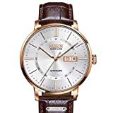 Binger Sapphire Relogio Masculino Automatic Mechanical Watch for Men - N9209-White Brown