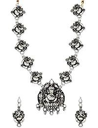 Zaveri Pearls Antique Lord Ganesha Temple Necklace Set-ZPFK6300