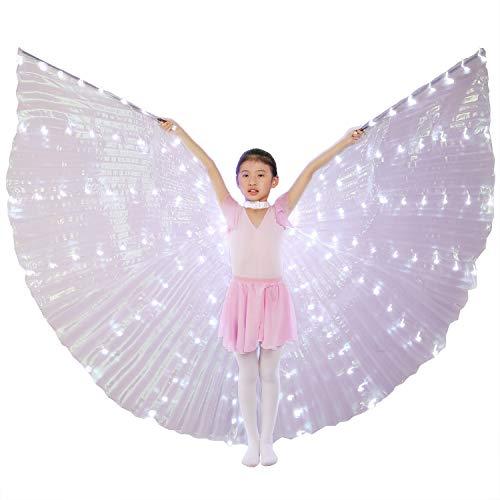 Engel Weißer Kind Kostüm - Dance Fairy Bauchtanz LED Isis Flügel Mit Stöcke/Stangen (Weiß für Kinder)