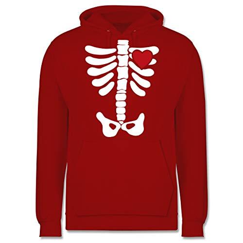 Shirtracer Halloween - Skelett Herz Halloween Kostüm - XS - Rot - JH001 - Herren Hoodie