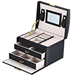 DCCN Jewelry Box Three-Layer Jewelry Organizer Mirror
