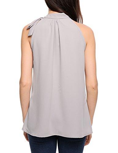 ACEVOG Damen Bluse 3/4 Ärmel Beiläufiger Chiffon Loose Fit Shirt Tops mit Rundhals D Grau