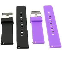 22mm correa silicona , EL-move 22MM Silicona Banda Correas Brazalete de Pulsera para Pebble Time / Gear S3 Classic / Gear2(Black+Purple 2pcs)