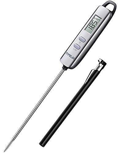 TOPELEK Grillthermometer Fleischthermometer Steakthermometer Küchenthermometer Milchthermometer Kerntemperatur Thermometer Lange Probe, mit 5 Sekunden Instant Read-Out für Küche, Grill, BBQ, Essen. - Digital Probe Thermometer