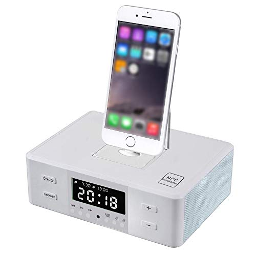 XASY Docking Station Drahtloser Bluetooth Lautsprecher Doppelter Wecker, UKW-Radio Mit Fernbedienung Ladestation DREI-in-Eins-Drehladebasis Für jedes iPhone Android iPad iPod Lade und Wiedergabe