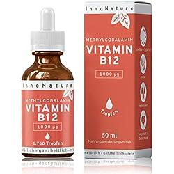 Vitamin B12 (Methylcobalamin) 1750 Tropfen (1000 µg pro Portion/ 200µg pro Tropfen) 50ml Flasche. Frei von Konservierungsstoffen. Laborgeprüft, hohe Bioverfügbarkeit, hochdosiert, vegan + made in DE.