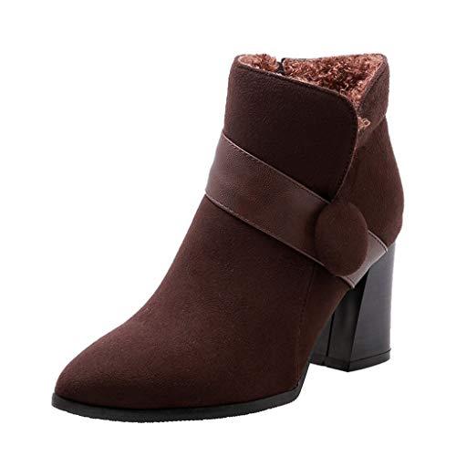 LILIHOT Frauen Elastisch Flache Stiefel Damen Dehnbare Lässige Knöchel Booties Mode Reine Farbe Spitz Reißverschluss Stiefel Chunky Heels Vintage Frauen Stiefel -
