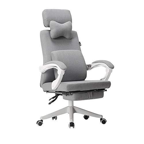 LJHA Bürostuhl Bürostuhl,Bürodrehstuhl, Executive Computer-Schreibtischstuhl mit Lifting-Funktion, Verstellbare Kopfstütze und Lendenkissen für Heimarbeit (Grauer Stoff) Arbeitsstuhl -