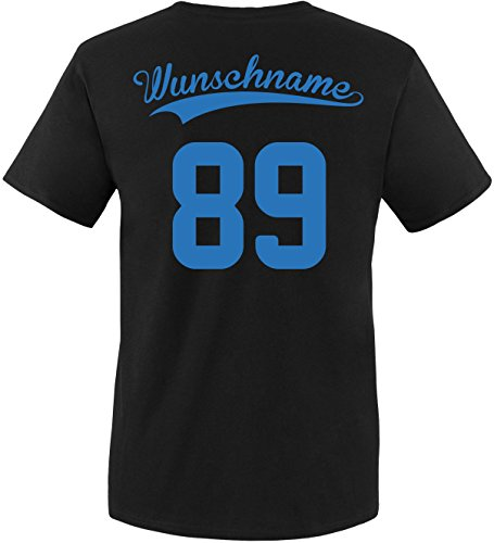 EZYshirt® Wunschnamen und Wunschnummer Brannon Pärchen Rundhals T-Shirt Herren/Schwarz/Blau