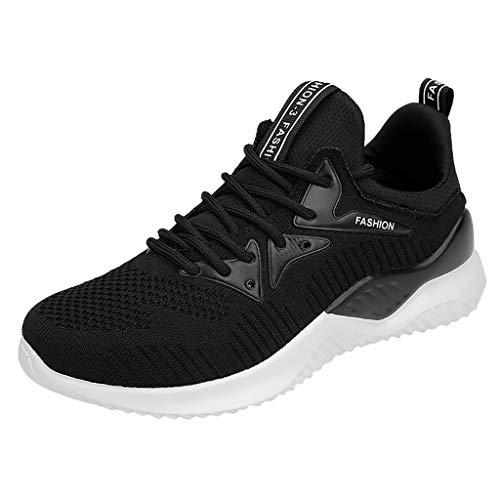 feiXIANG Damen Sneakers Dicker Boden Platform Mesh Schnürschuhe Outdoor Casual Sportschuhe (Schwarz,37)