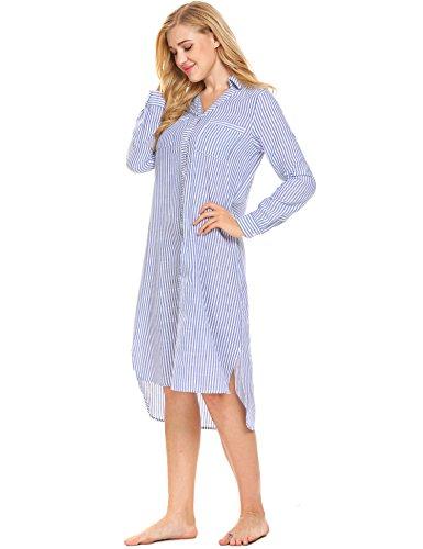ADOME Damen Streifen Nachthemd Baumwolle Nachtkleid Langarm Sleepshirt Lang Bluse Optik Nachtwäsche Lose Fit Blau/Weiß 672
