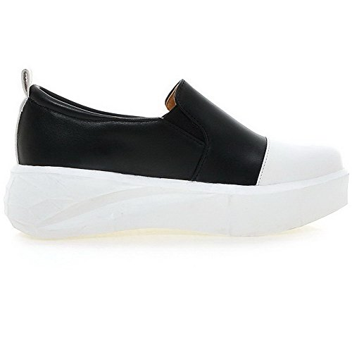 VogueZone009 Femme Pu Cuir à Talon Bas Rond Couleurs Mélangées Tire Chaussures Légeres Noir