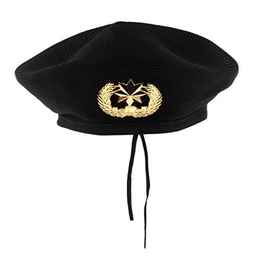 P Prettyia Herren Damen Matrosenmütze Seemannhut Marine Seemann Kostüm für Halloween Party Freizeit - Schwarz, 56cm (Marine Kostüm Für Jungen)