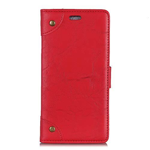 Coque Funda Xiaomi Mi Mix 2S-Cuero Vintage Funda de Cuero para Xiaomi Mi Mix 2S(Rojo)