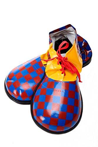 DRESS ME UP - Kostüm Karneval Zirkus übergroße Clownschuhe Clown rot blau kariert (Schuhe Clown Blau Erwachsene)