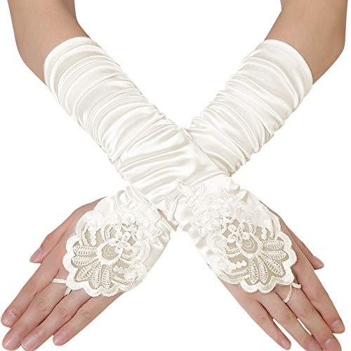Coucoland Damen Handschuhe Satin Classic Opera Fest Party Audrey Hepburn Handschuhe 1920s Handschuhe Damen Lang Kurz Elastisch (Fingerlos Gefaltet/Elfenbein)
