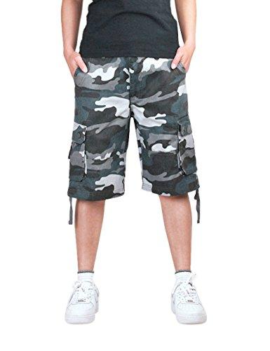 Menschwear Herren Vintage Cargo Shorts Bermuda Kurze Hose Sommer Kurze Hose (38, Blau) (Sky Blau Jungen Camo)