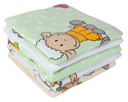 ByBoom® - Moltontücher - Flanellwindeln - Spucktücher - Bunt - 70x80 cm - 5er Pack, 100% Baumwolle - kuschelig - weich; MADE IN EU, Farbe:Grün - Schäfchen