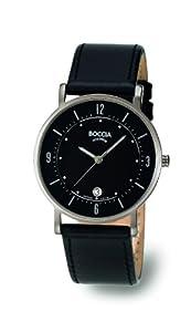 Reloj de caballero Boccia 3533-01 de cuarzo, correa de piel color negro de Boccia