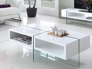 Table basse BROOKE - MDF laqué et verre trempé - Blanc