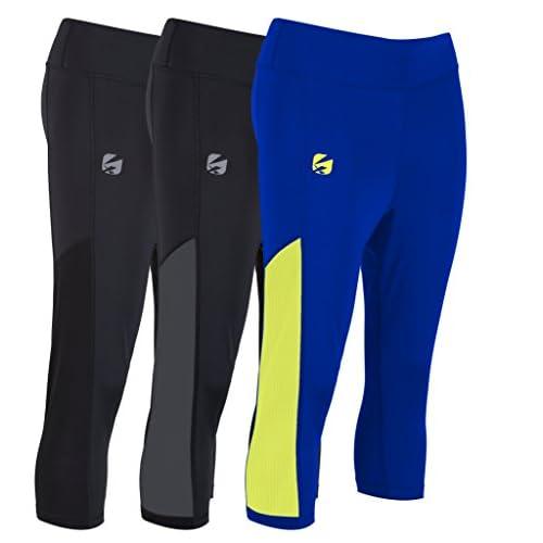 41ZVkKs1s2L. SS500  - Candish AL13MA 3 Quarter, 3/4 Leggings Women's Running Leggings, Ladies Capri Bottoms Tights Womens Jogging Gym Trousers